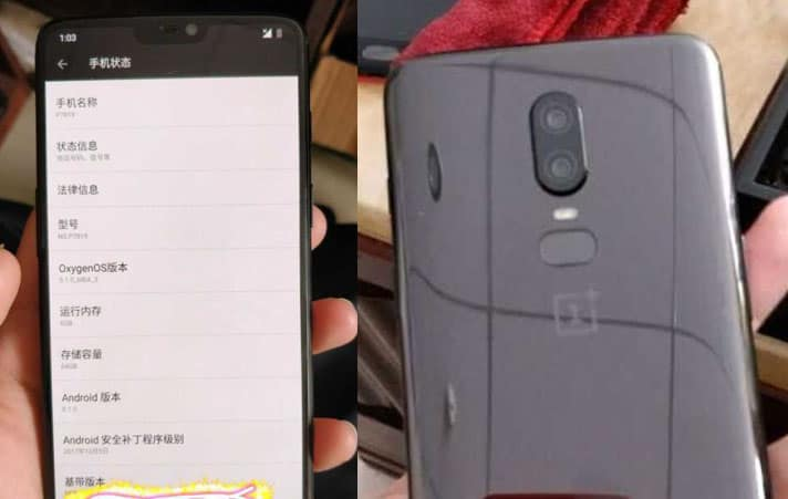 OnePlus 6 Front & Back