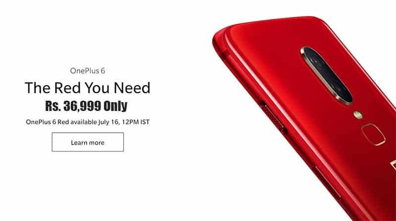 OnePlus 6 Red Edition in Just Rs. 36,999 | Discount Rs. 3000 Off on Sale